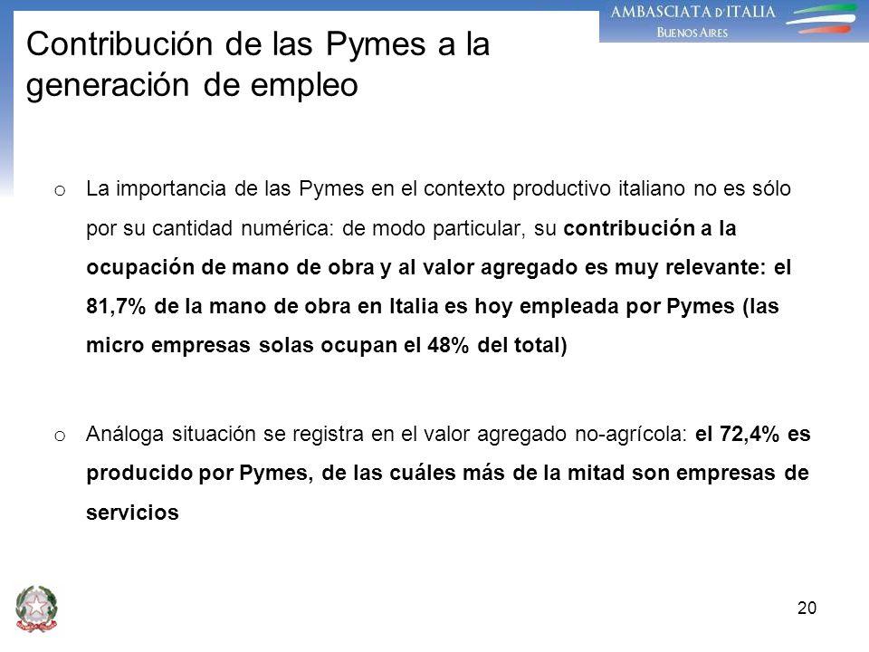 20 Contribución de las Pymes a la generación de empleo o La importancia de las Pymes en el contexto productivo italiano no es sólo por su cantidad num