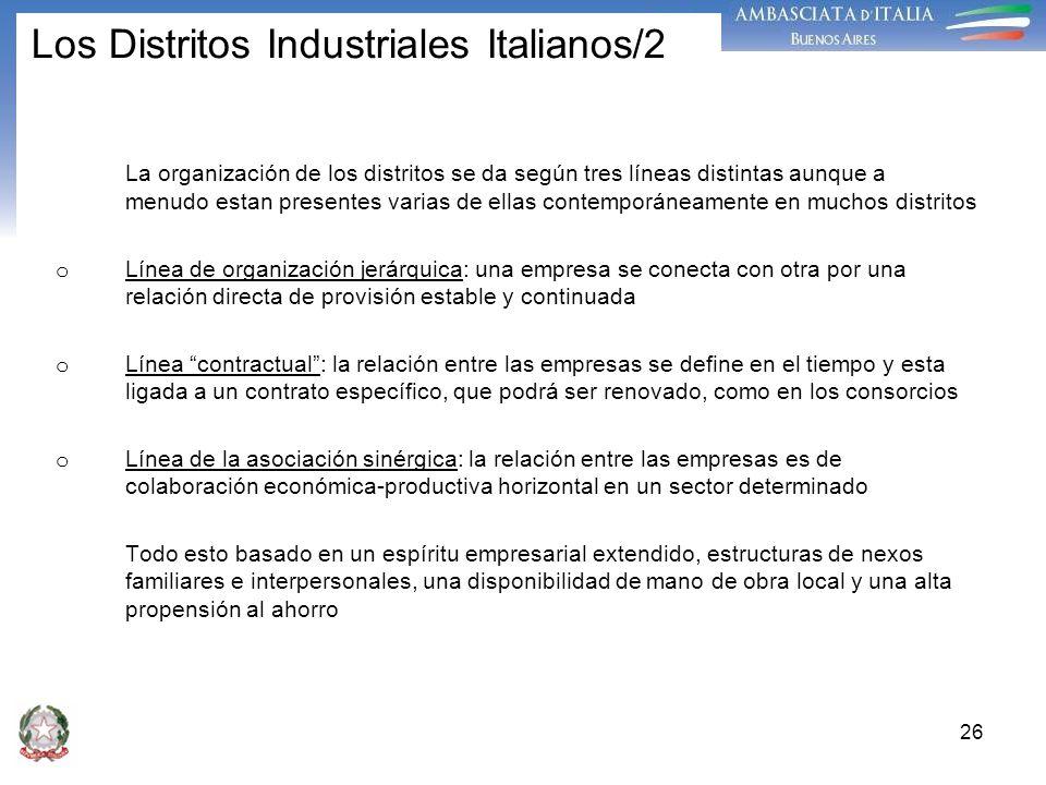 26 Los Distritos Industriales Italianos/2 La organización de los distritos se da según tres líneas distintas aunque a menudo estan presentes varias de