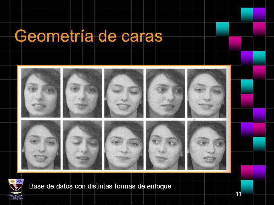 11 Geometría de caras Base de datos con distintas formas de enfoque