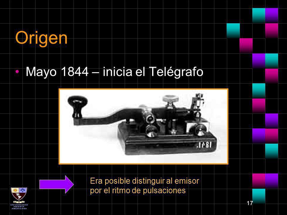 17 Origen Mayo 1844 – inicia el Telégrafo Era posible distinguir al emisor por el ritmo de pulsaciones