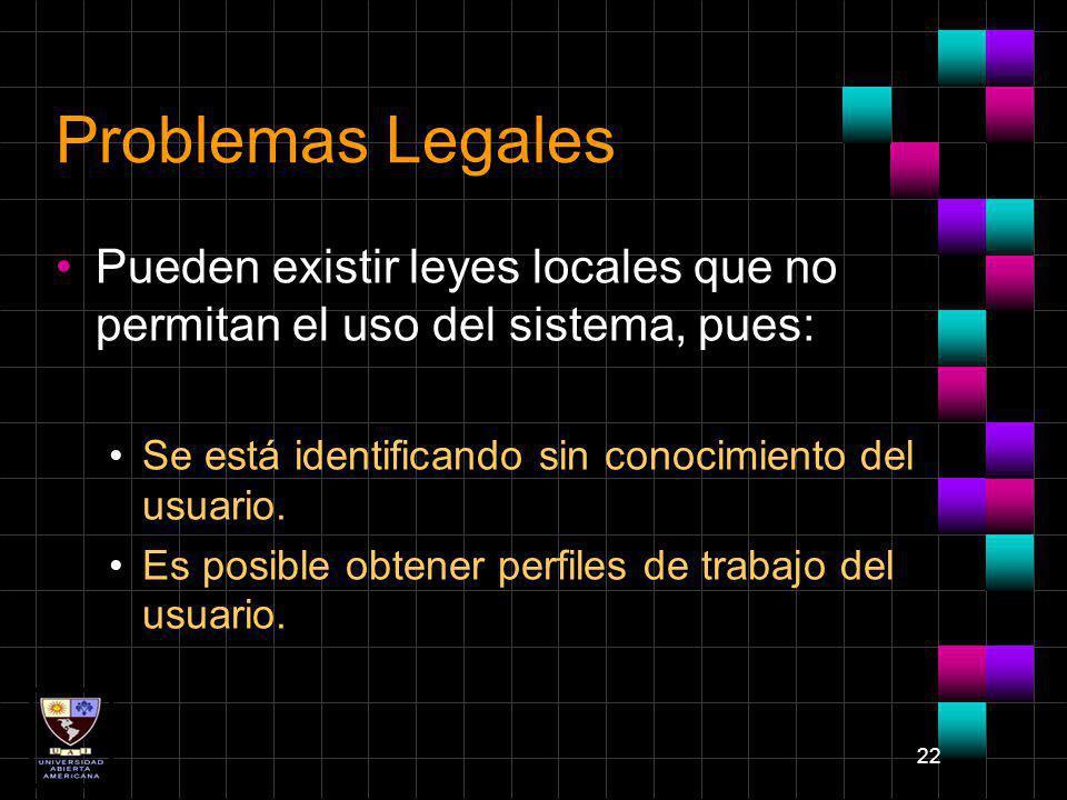 22 Problemas Legales Pueden existir leyes locales que no permitan el uso del sistema, pues: Se está identificando sin conocimiento del usuario. Es pos