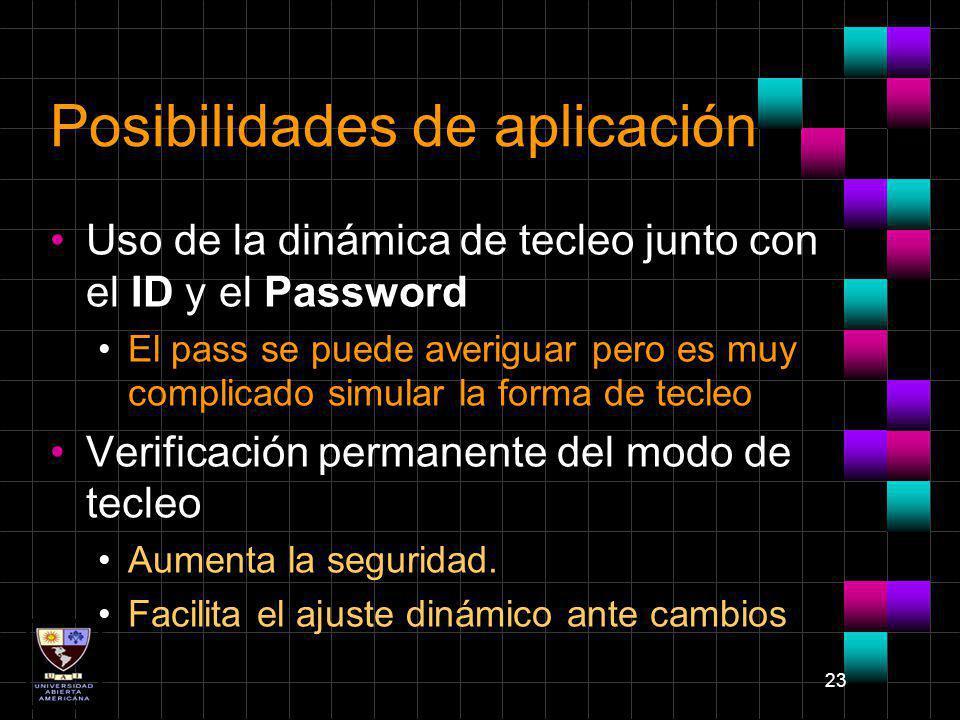 23 Posibilidades de aplicación Uso de la dinámica de tecleo junto con el ID y el Password El pass se puede averiguar pero es muy complicado simular la