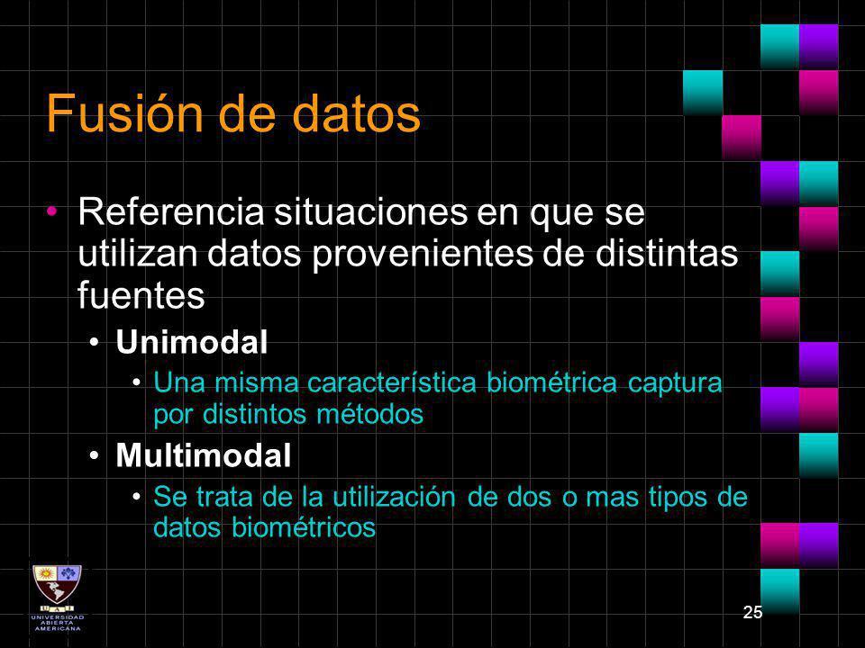 25 Fusión de datos Referencia situaciones en que se utilizan datos provenientes de distintas fuentes Unimodal Una misma característica biométrica capt