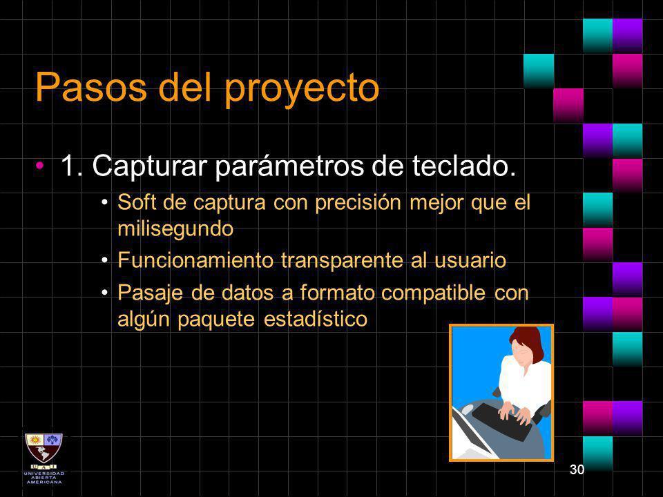 30 Pasos del proyecto 1. Capturar parámetros de teclado. Soft de captura con precisión mejor que el milisegundo Funcionamiento transparente al usuario
