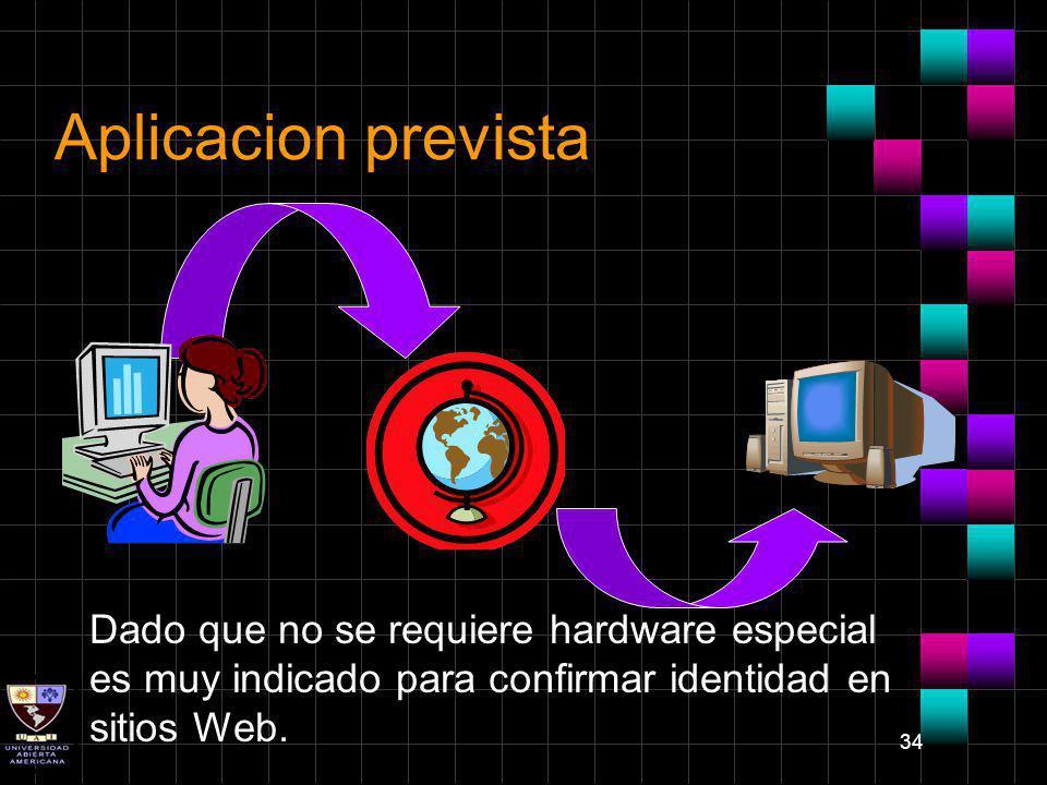 34 Aplicacion prevista Dado que no se requiere hardware especial es muy indicado para confirmar identidad en sitios Web.