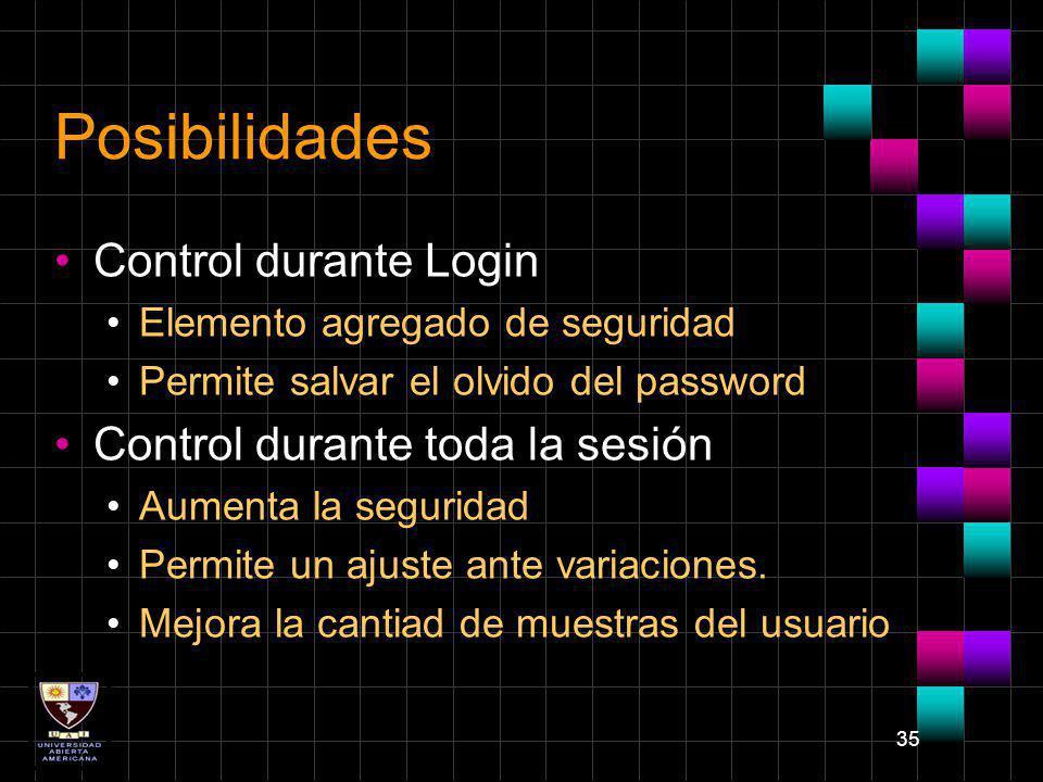 35 Posibilidades Control durante Login Elemento agregado de seguridad Permite salvar el olvido del password Control durante toda la sesión Aumenta la