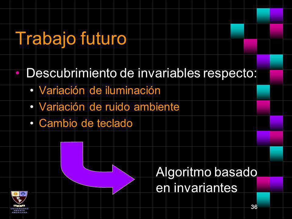36 Trabajo futuro Descubrimiento de invariables respecto: Variación de iluminación Variación de ruido ambiente Cambio de teclado Algoritmo basado en i