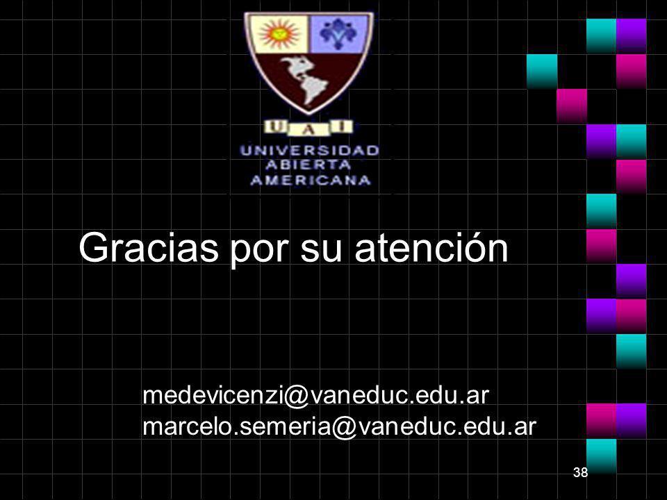 38 medevicenzi@vaneduc.edu.ar marcelo.semeria@vaneduc.edu.ar Gracias por su atención
