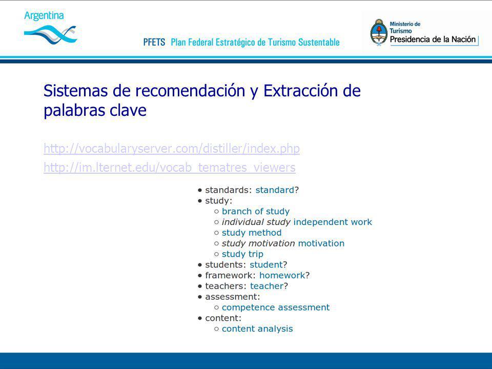 Sistemas de recomendación y Extracción de palabras clave http://vocabularyserver.com/distiller/index.php http://im.lternet.edu/vocab_tematres_viewers