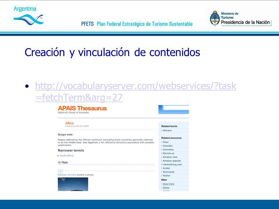 Creación y vinculación de contenidos http://vocabularyserver.com/webservices/?task =fetchTerm&arg=27http://vocabularyserver.com/webservices/?task =fetchTerm&arg=27