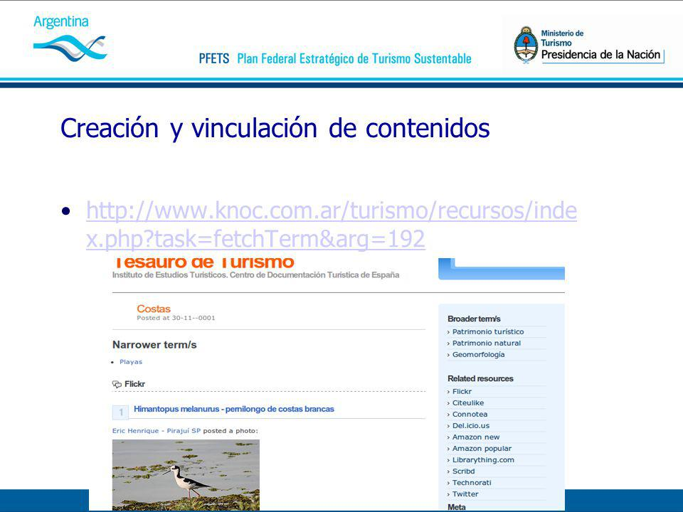 Creación y vinculación de contenidos http://www.knoc.com.ar/turismo/recursos/inde x.php task=fetchTerm&arg=192http://www.knoc.com.ar/turismo/recursos/inde x.php task=fetchTerm&arg=192