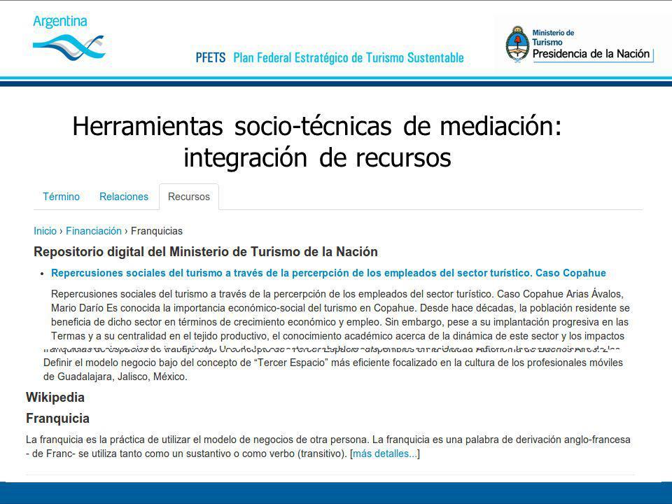 Herramientas socio-técnicas de mediación: integración de recursos