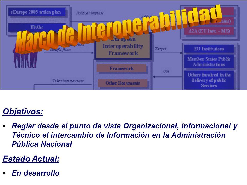 Objetivos: Reglar desde el punto de vista Organizacional, informacional y Técnico el intercambio de Información en la Administración Pública Nacional Estado Actual: En desarrollo