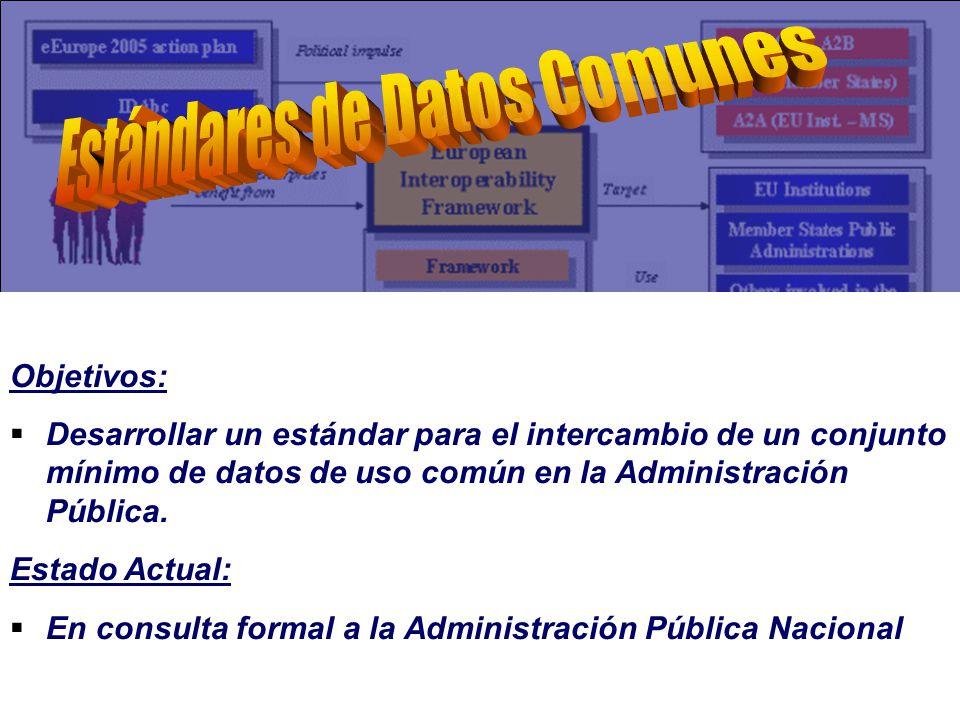 Objetivos: Desarrollar un estándar para el intercambio de un conjunto mínimo de datos de uso común en la Administración Pública.