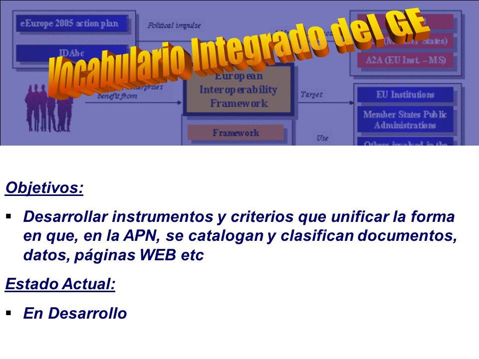 Objetivos: Desarrollar instrumentos y criterios que unificar la forma en que, en la APN, se catalogan y clasifican documentos, datos, páginas WEB etc Estado Actual: En Desarrollo