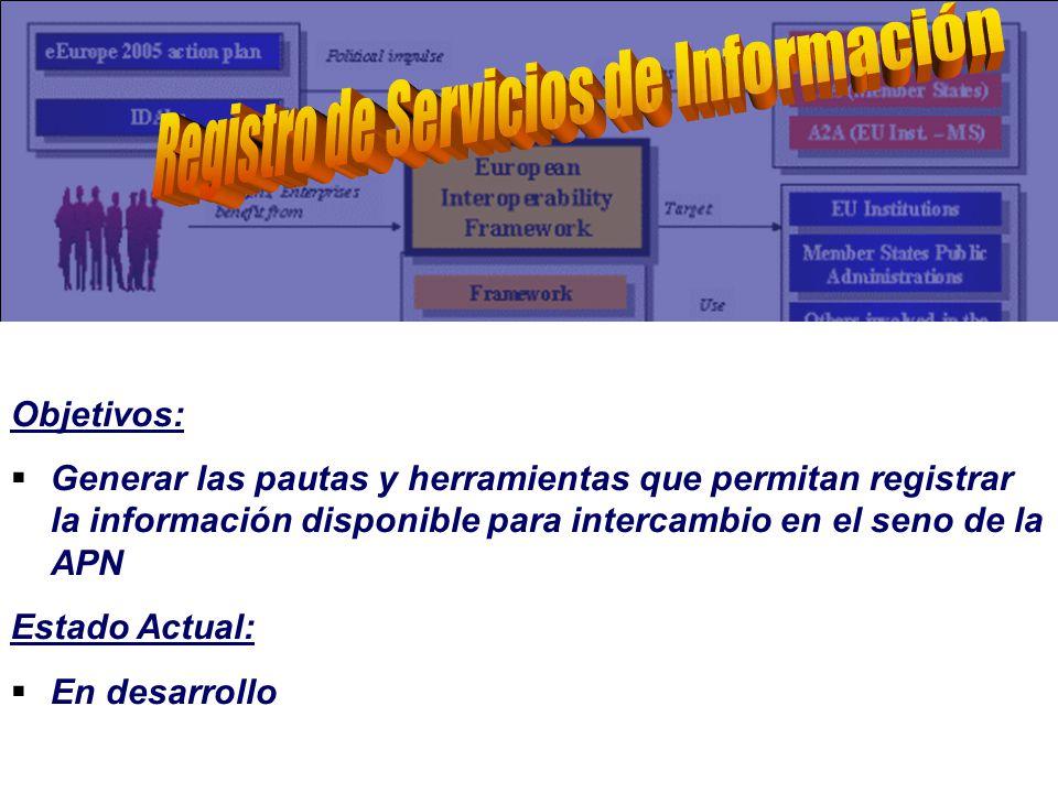 Objetivos: Generar las pautas y herramientas que permitan registrar la información disponible para intercambio en el seno de la APN Estado Actual: En desarrollo