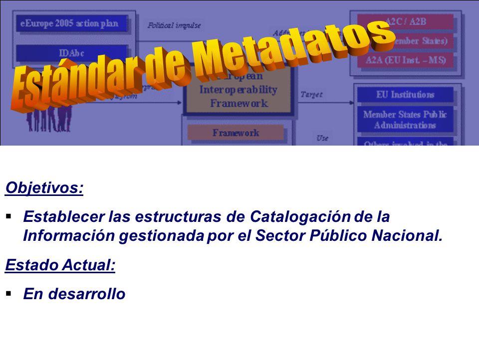 Objetivos: Establecer las estructuras de Catalogación de la Información gestionada por el Sector Público Nacional.