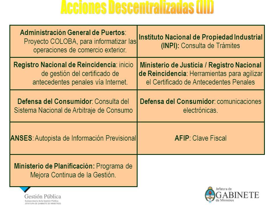 Instituto Nacional de Propiedad Industrial (INPI): Consulta de Trámites Administración General de Puertos : Proyecto COLOBA, para informatizar las operaciones de comercio exterior.