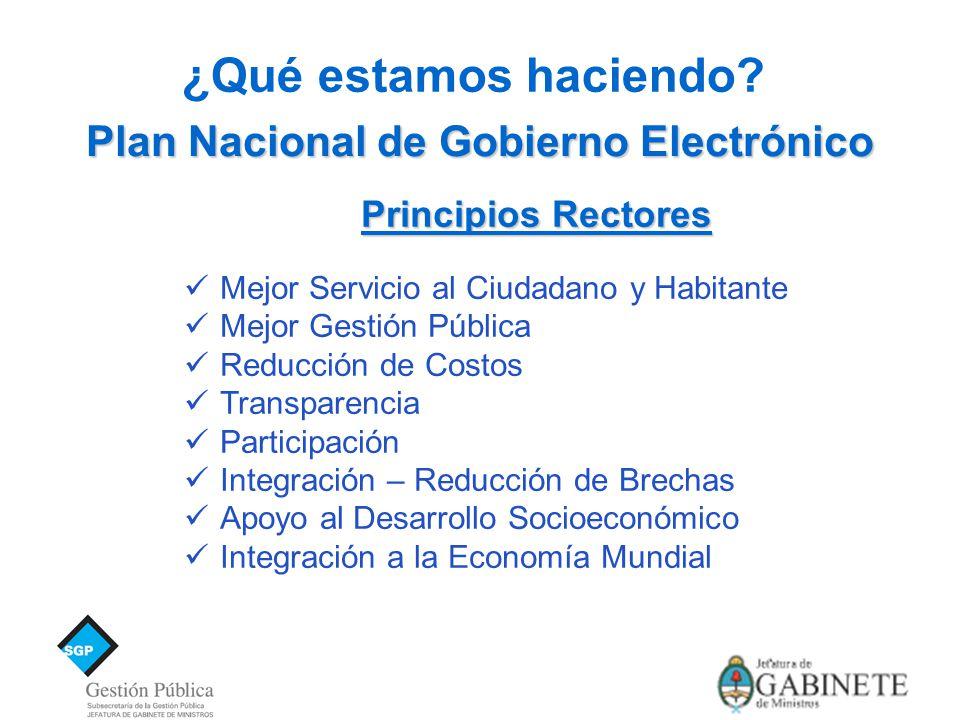 Plan Nacional de Gobierno Electrónico ¿Qué estamos haciendo.
