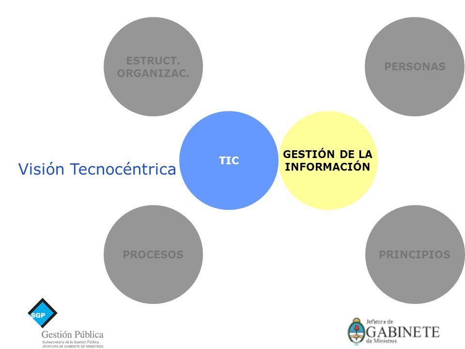 ESTRUCT. ORGANIZAC. PRINCIPIOSPROCESOS PERSONAS TIC GESTIÓN DE LA INFORMACIÓN Visión Tecnocéntrica