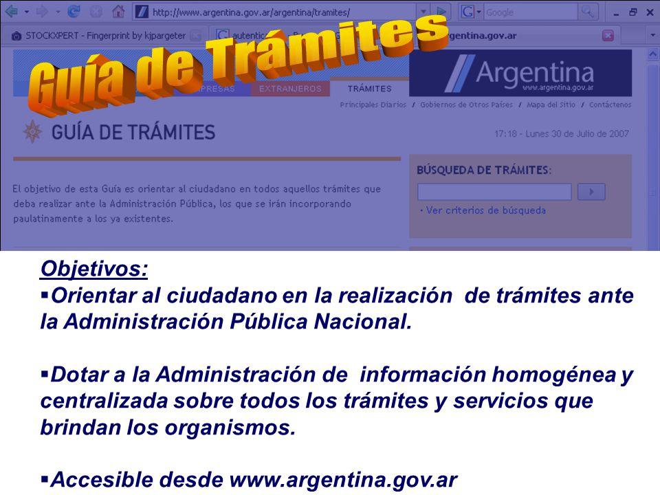 Objetivos: Orientar al ciudadano en la realización de trámites ante la Administración Pública Nacional.