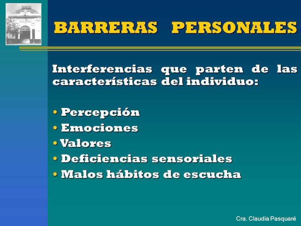 Cra. Claudia PasquaréBARRERASBARRERAS Físicas Físicas Semánticas Semánticas Personales Personales Físicas Físicas Semánticas Semánticas Personales Per