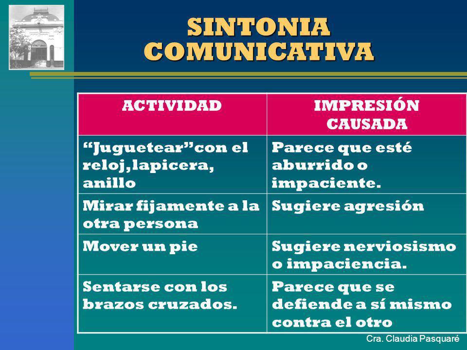 Cra. Claudia Pasquaré SINTONIA COMUNICATIVA Consiste en adaptarse a la otra persona, aunque sea muy brevemente, como un modo de demostrarle respeto.