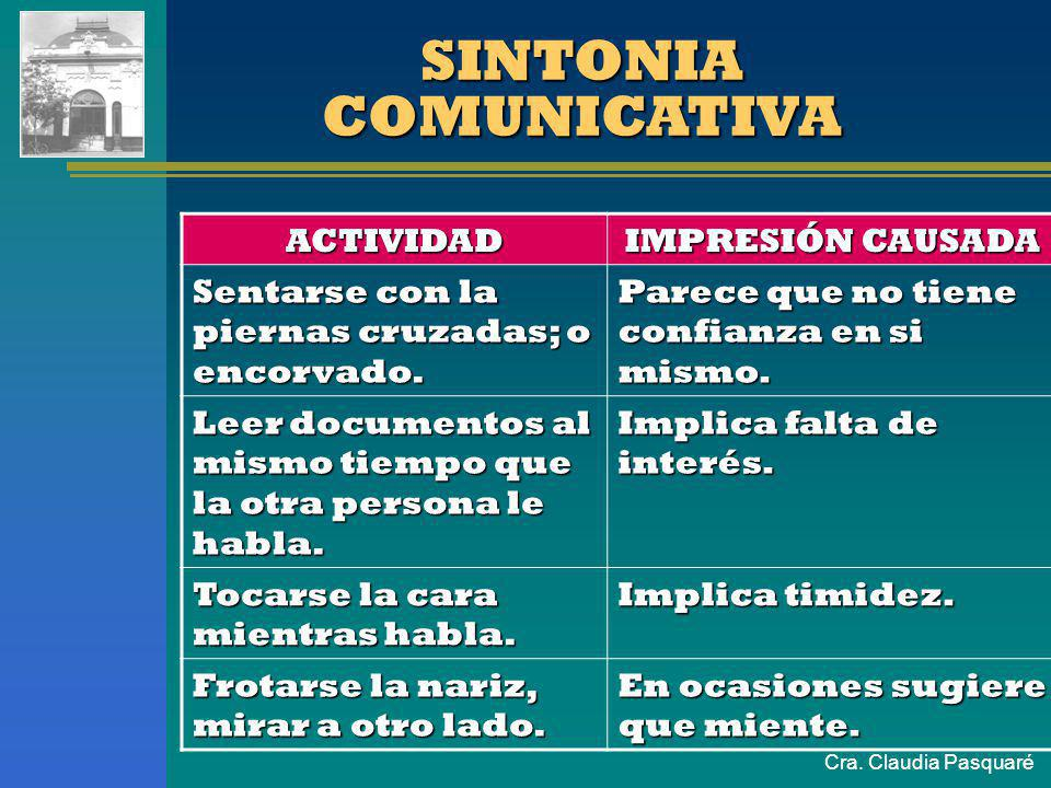 Cra. Claudia Pasquaré SINTONIA COMUNICATIVA ACTIVIDADIMPRESIÓN CAUSADA Juguetear con el reloj, lapicera, anillo Parece que esté aburrido o impaciente.