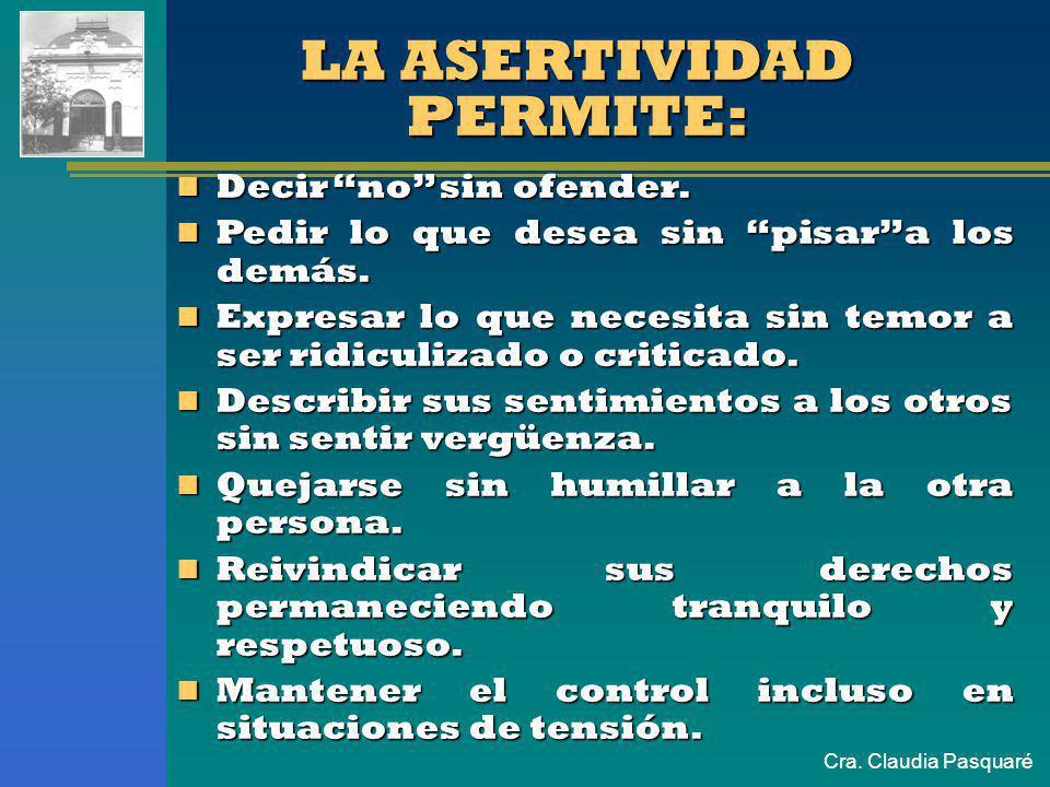 Cra. Claudia Pasquaré Consiste en equilibrar sus necesidades con las de los demás. Se trata de demostrar respeto por los otros y por uno mismo. ASERTI