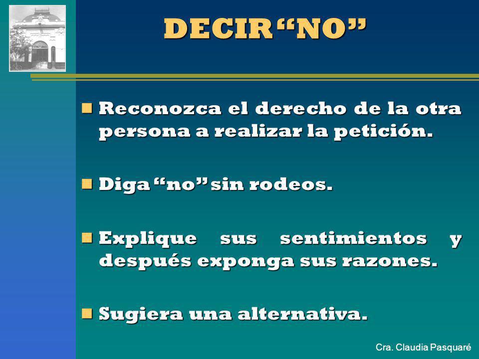 Cra. Claudia Pasquaré LA ASERTIVIDAD PERMITE: Decir no sin ofender. Decir no sin ofender. Pedir lo que desea sin pisara los demás. Pedir lo que desea
