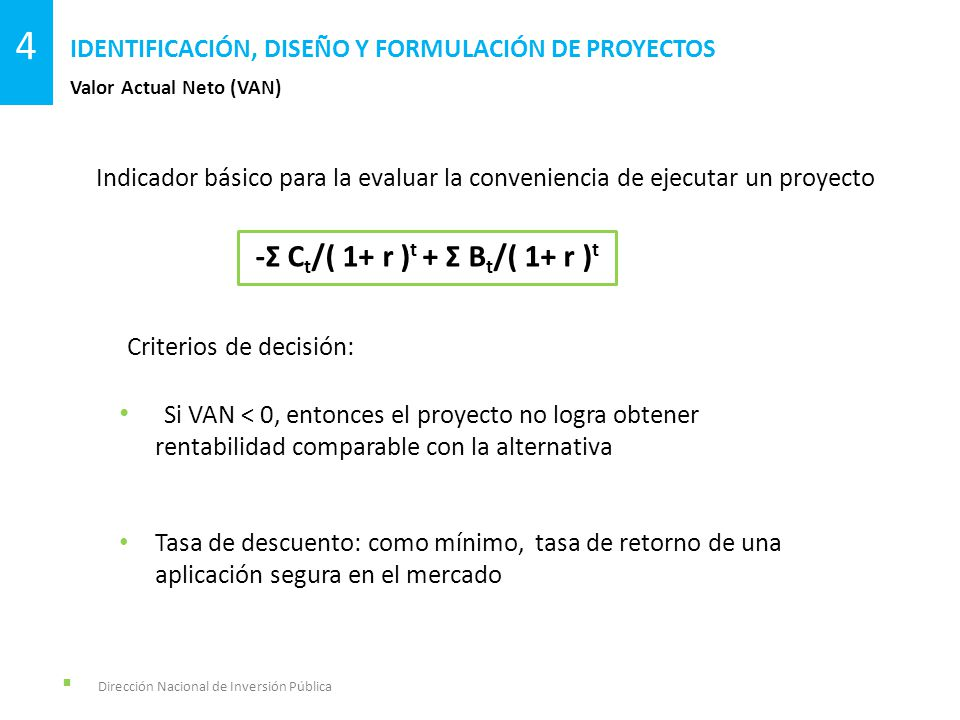 Dirección Nacional de Inversión Pública Valor Actual Neto (VAN) IDENTIFICACIÓN, DISEÑO Y FORMULACIÓN DE PROYECTOS 4 -Σ C t /( 1+ r ) t + Σ B t /( 1+ r