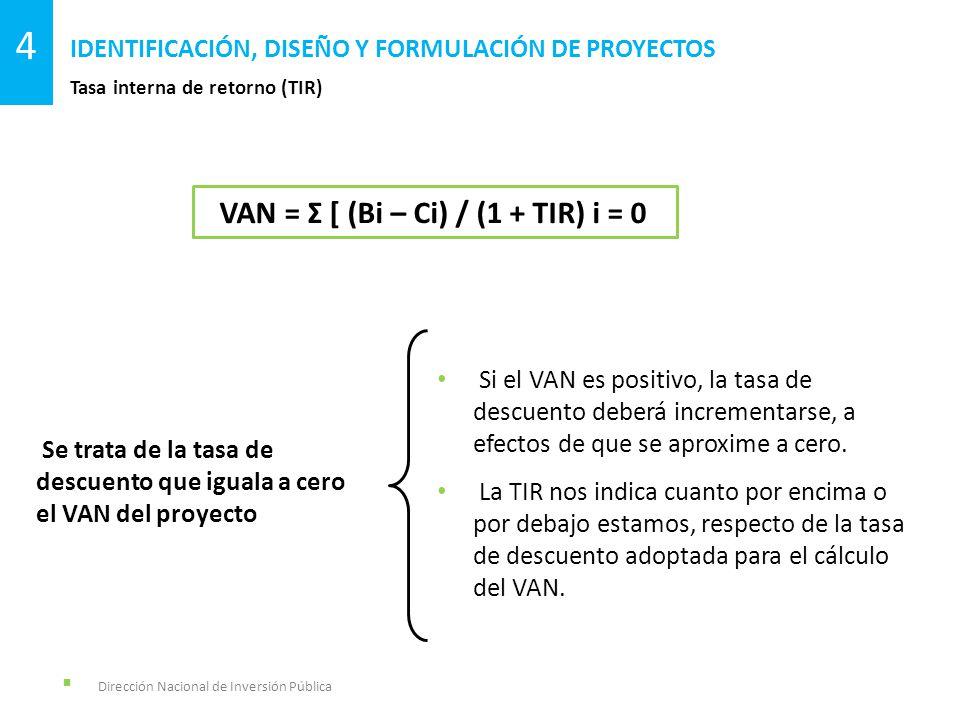Dirección Nacional de Inversión Pública Tasa interna de retorno (TIR) IDENTIFICACIÓN, DISEÑO Y FORMULACIÓN DE PROYECTOS 4 VAN = Σ [ (Bi – Ci) / (1 + T