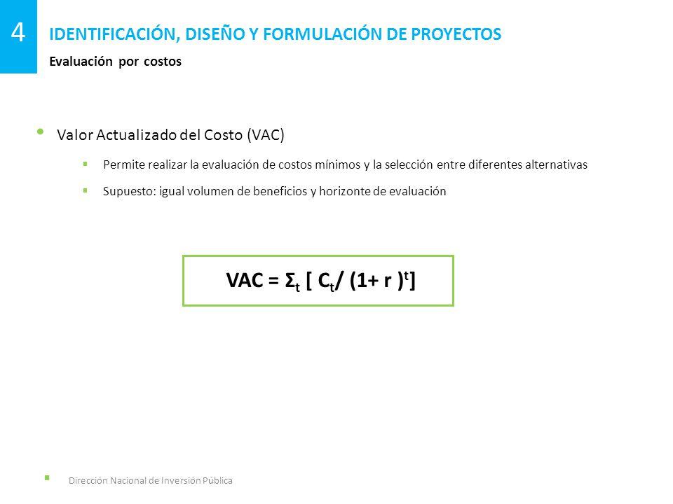 Dirección Nacional de Inversión Pública Evaluación por costos IDENTIFICACIÓN, DISEÑO Y FORMULACIÓN DE PROYECTOS 4 Valor Actualizado del Costo (VAC) Pe