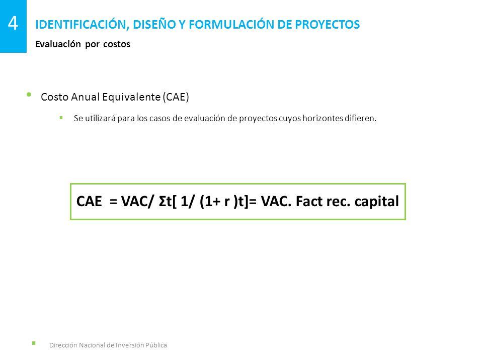Dirección Nacional de Inversión Pública Evaluación por costos IDENTIFICACIÓN, DISEÑO Y FORMULACIÓN DE PROYECTOS 4 Costo Anual Equivalente (CAE) Se uti