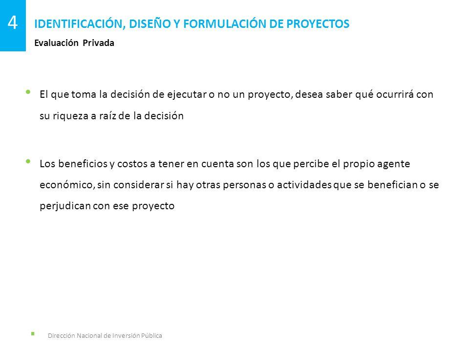Dirección Nacional de Inversión Pública Evaluación Privada IDENTIFICACIÓN, DISEÑO Y FORMULACIÓN DE PROYECTOS 4 El que toma la decisión de ejecutar o n