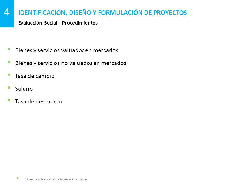 Dirección Nacional de Inversión Pública Evaluación Social - Procedimientos IDENTIFICACIÓN, DISEÑO Y FORMULACIÓN DE PROYECTOS 4 Bienes y servicios valu