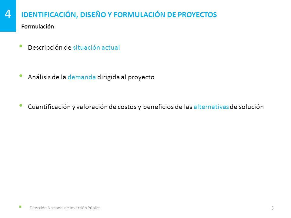 Descripción de situación actual Análisis de la demanda dirigida al proyecto Cuantificación y valoración de costos y beneficios de las alternativas de