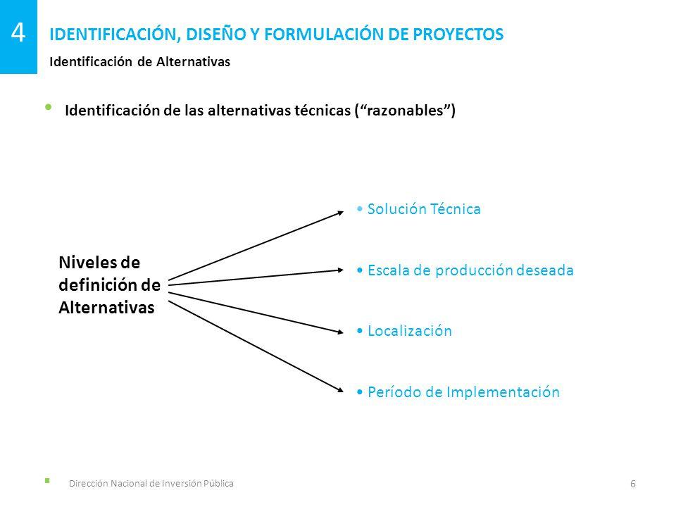 Identificación de las alternativas técnicas (razonables) Dirección Nacional de Inversión Pública Identificación de Alternativas IDENTIFICACIÓN, DISEÑO
