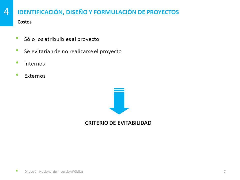 Dirección Nacional de Inversión Pública IDENTIFICACIÓN, DISEÑO Y FORMULACIÓN DE PROYECTOS 4 EVALUACIÓN SOCIAL DE PROYECTOS Conceptos, criterios y procedimientos