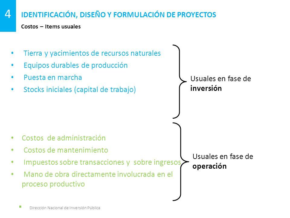 Dirección Nacional de Inversión Pública Costos – Items usuales IDENTIFICACIÓN, DISEÑO Y FORMULACIÓN DE PROYECTOS 4 Tierra y yacimientos de recursos na