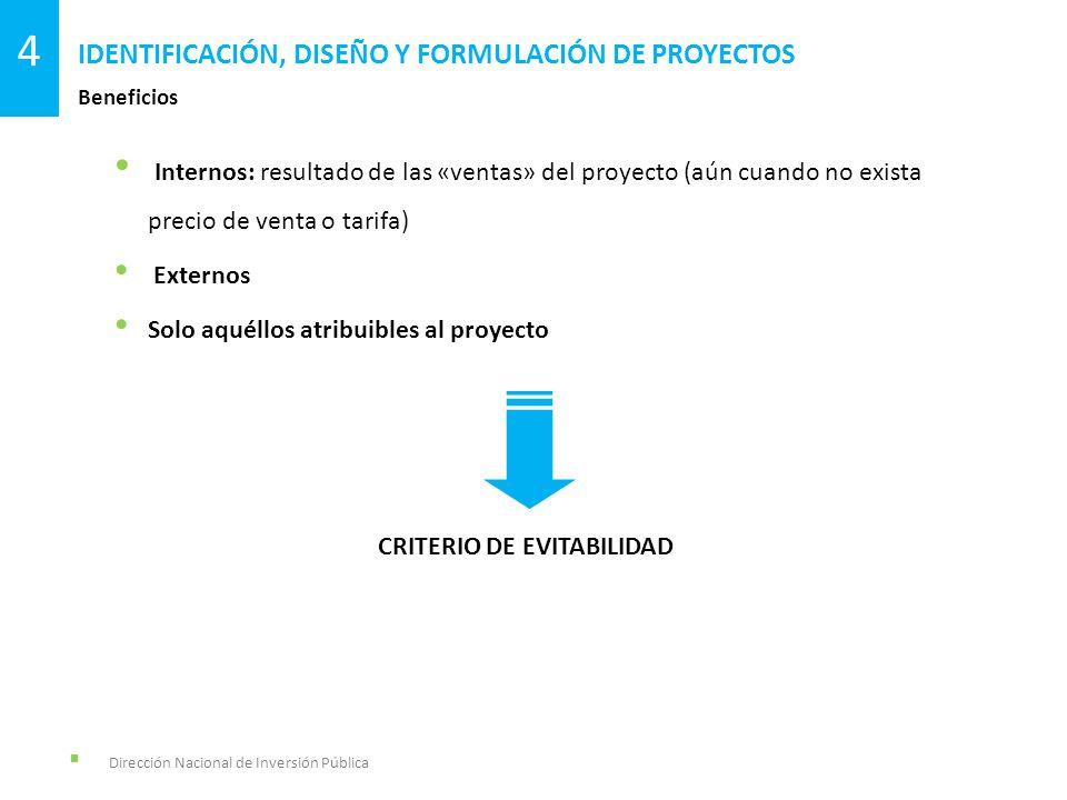 Dirección Nacional de Inversión Pública Beneficios IDENTIFICACIÓN, DISEÑO Y FORMULACIÓN DE PROYECTOS 4 Internos: resultado de las «ventas» del proyect