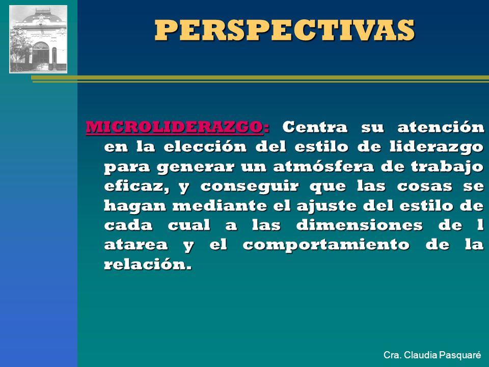 Cra. Claudia Pasquaré PERSPECTIVAS MICROLIDERAZGO: Centra su atención en la elección del estilo de liderazgo para generar un atmósfera de trabajo efic