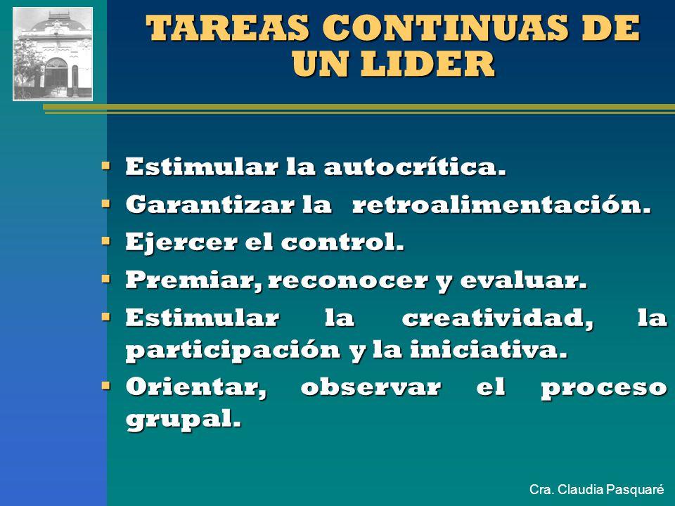 Cra. Claudia Pasquaré TAREAS CONTINUAS DE UN LIDER Estimular la autocrítica. Estimular la autocrítica. Garantizar la retroalimentación. Garantizar la