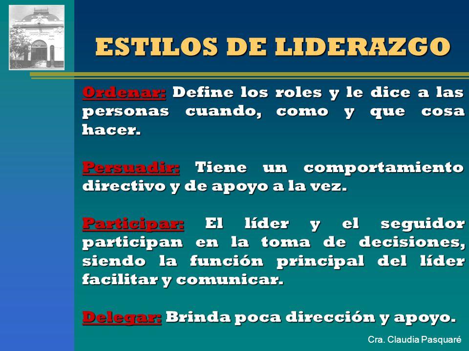 Cra. Claudia Pasquaré ESTILOS DE LIDERAZGO Ordenar: Define los roles y le dice a las personas cuando, como y que cosa hacer. Persuadir: Tiene un compo