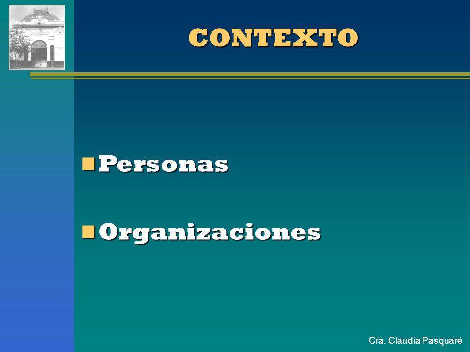 Cra. Claudia Pasquaré CONTEXTO Personas Personas Organizaciones Organizaciones