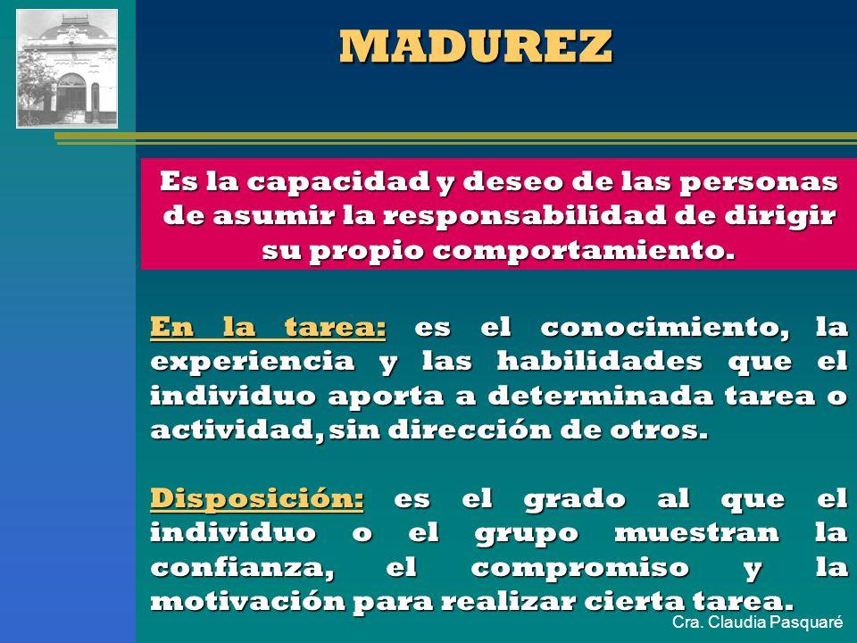 Cra. Claudia Pasquaré MADUREZ En la tarea: es el conocimiento, la experiencia y las habilidades que el individuo aporta a determinada tarea o activida
