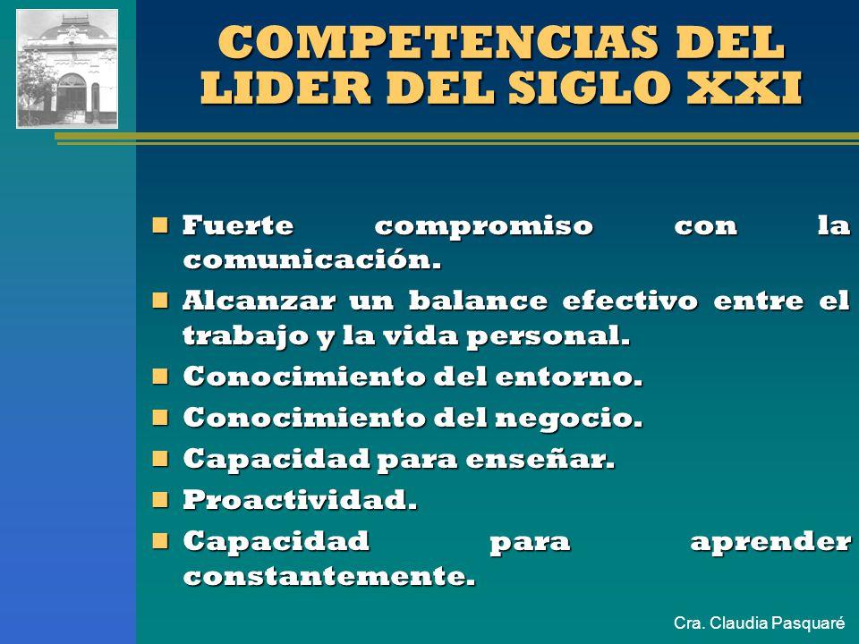 Cra. Claudia Pasquaré Fuerte compromiso con la comunicación. Fuerte compromiso con la comunicación. Alcanzar un balance efectivo entre el trabajo y la