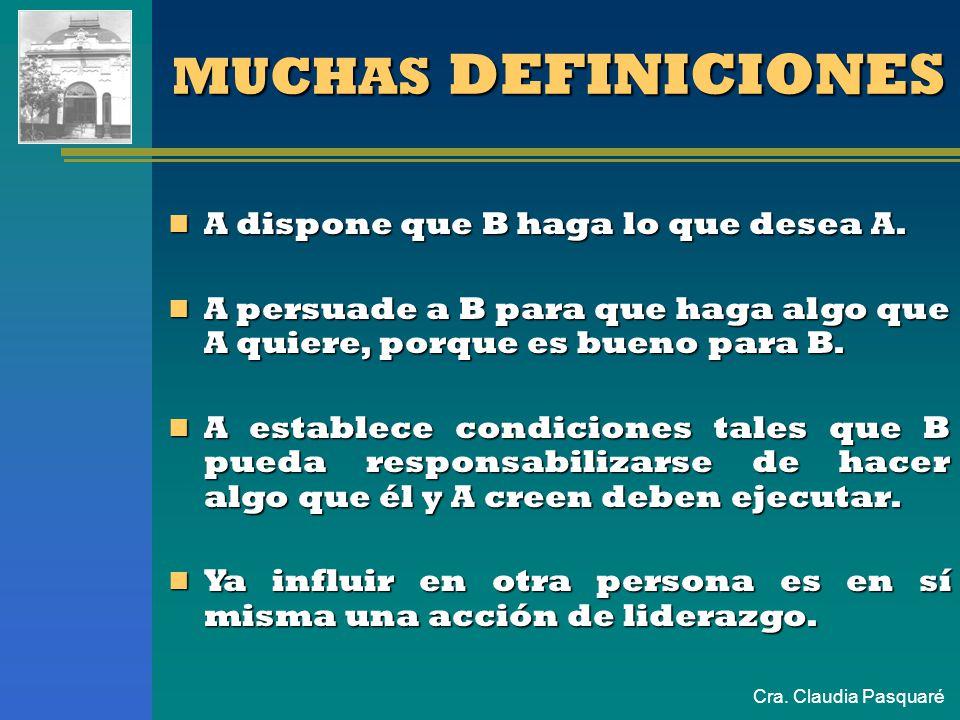 Cra. Claudia Pasquaré MUCHAS DEFINICIONES A dispone que B haga lo que desea A. A dispone que B haga lo que desea A. A persuade a B para que haga algo