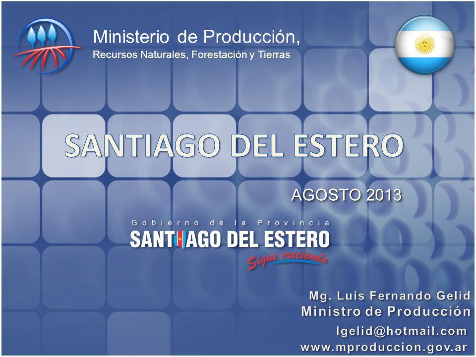 Ministerio de Producción, Recursos Naturales, Forestación y Tierras AGOSTO 2013