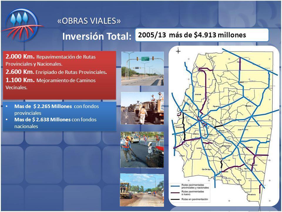«OBRAS VIALES» Mas de $ 2.265 Millones con fondos provinciales Mas de $ 2.638 Millones con fondos nacionales Mas de $ 2.265 Millones con fondos provinciales Mas de $ 2.638 Millones con fondos nacionales 2005/13 más de $4.913 millones Inversión Total: 2.000 Km.